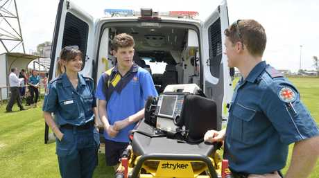 Fifteen-year-old Connor Sharpe meets the paramedics, Sarah Williams and Danial Bibo who saved him followng a cardiac arrest at the Brothers Leagues Club.