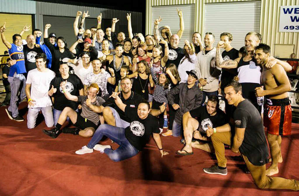 TEAM EFFORT: Rhino MMA Yeppoon and Rockhampton club members celebrate the night after holding the Battle at the Beach 4 event at their Yeppoon gym on October 17.