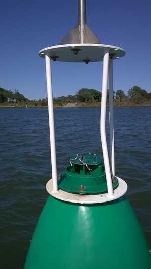 One of the damaged buoys.