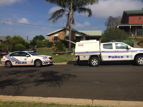 Police at the scene of a stabbing in Wilsonton, Toowoomba.