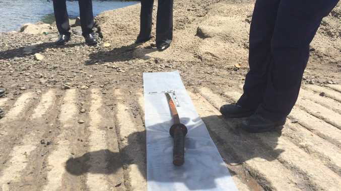 The sword that was recovered at Andergrove boat ramp.