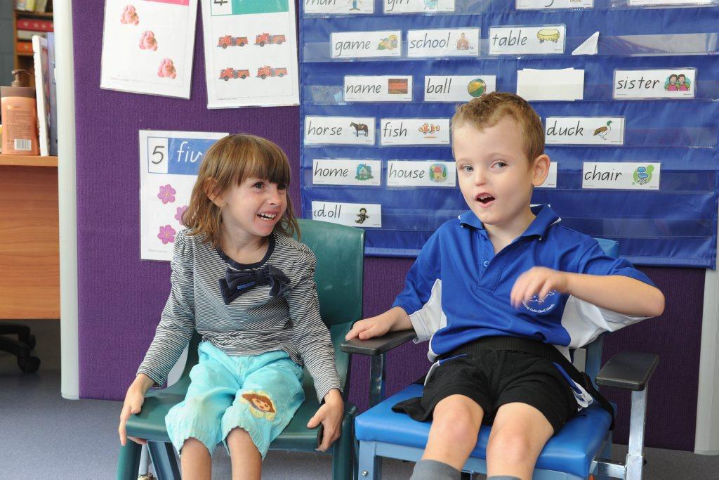 Prep students at Hervey Bay Special School - (L) Ashley Fray and Aedan Harris. Photo: Alistair Brightman / Fraser Coast Chronicle