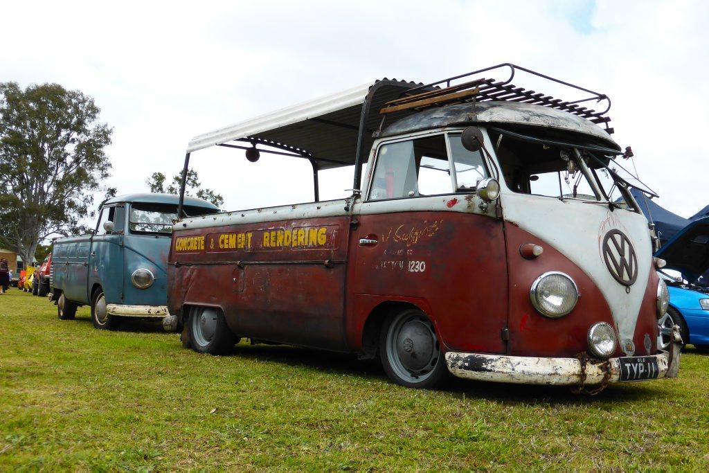 OLD SKOOL: Rat style split-screen VW Kombi pick-ups turn heads at the Combined Coastal Car Club car show at Cooroy.