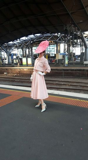 Angela McCormick on her way to the Melbourne Cup. Photo Contributed
