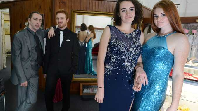 Richmond River High School students, from left Bodhi Towers, Teshan Joy, Ryley Adams, and Shannon Richardson, trying on outfits at Mary Vidler Bridal in Lismore for their formal.