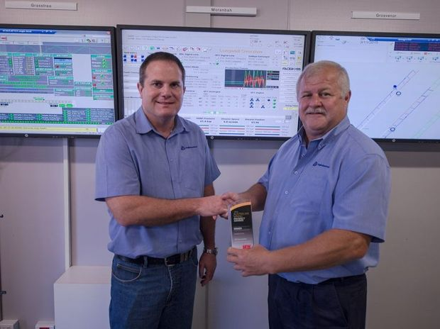 Moranbah North General Manager Craig Manz and Executive Head of Underground Operations Glen Britton with the award.