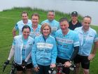 Lynette and Steve Waugh with some of the riders who braved torrential rain and rode into Corcoran Park, Grafton on day five of the six-day Steve Waugh Foundation Captain's Ride to raise money for rare diseases.Photo Bill North / Daily Examiner