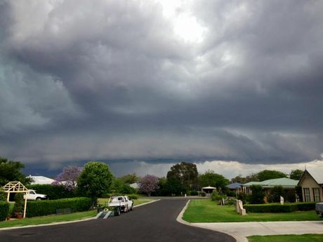 A thunderstorm rolls past Goondiwindi on the southern Darling Downs.