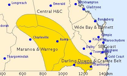 A severe thunderstorm warning issued at 2pm.