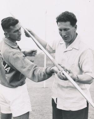 Jim Achurch and coach Franz Stampfl.