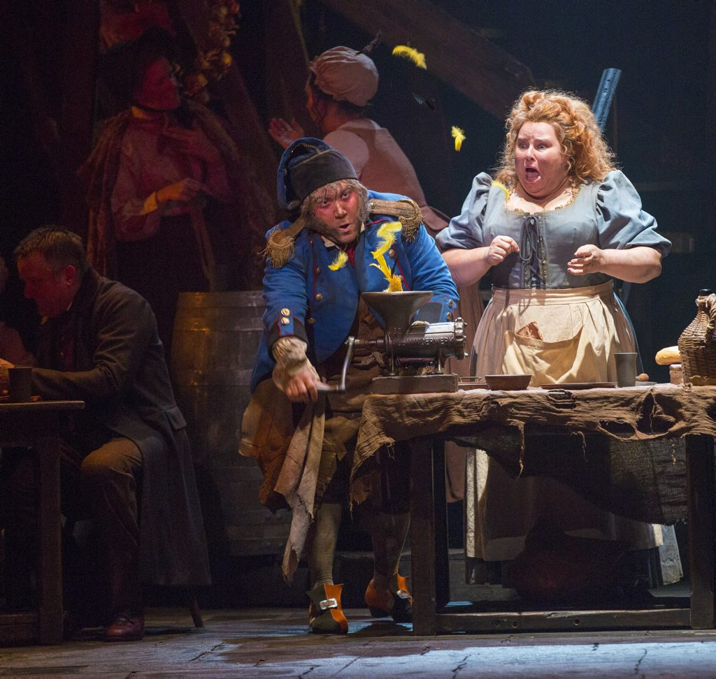 Trevor Ashley and Lara Mulcahy in a scene from the musical Les Miserables.