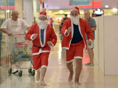 SANTA RUN: Ian O'Donnell from Rotary Club of Toowoomba South (left) and Peter Rookas from the Toowoomba Hospital Foundation. The Santa run will be held on December 13 and will commence at The Ridge shopping centre and finish at Toowoomba Plaza.