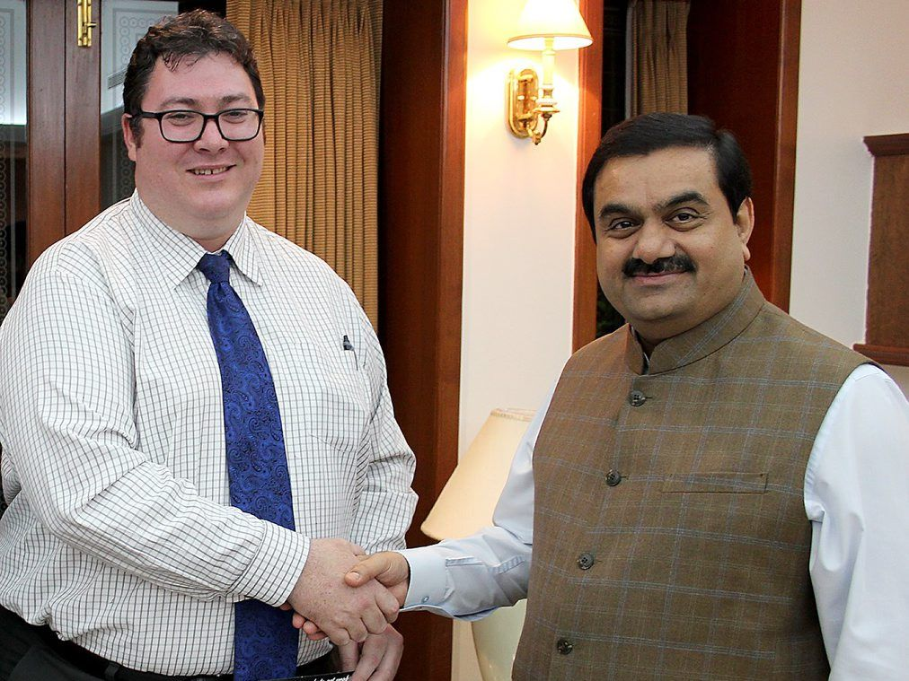 Dawson MP George Christensen with Adani Group chairman Gautam Adani.