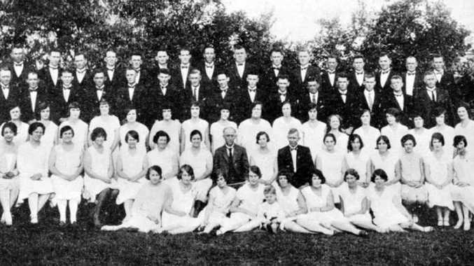 ON SONG: The Silkstone-Booval choral union, photographed in 1930 during the Brisbane Eisteddfod.