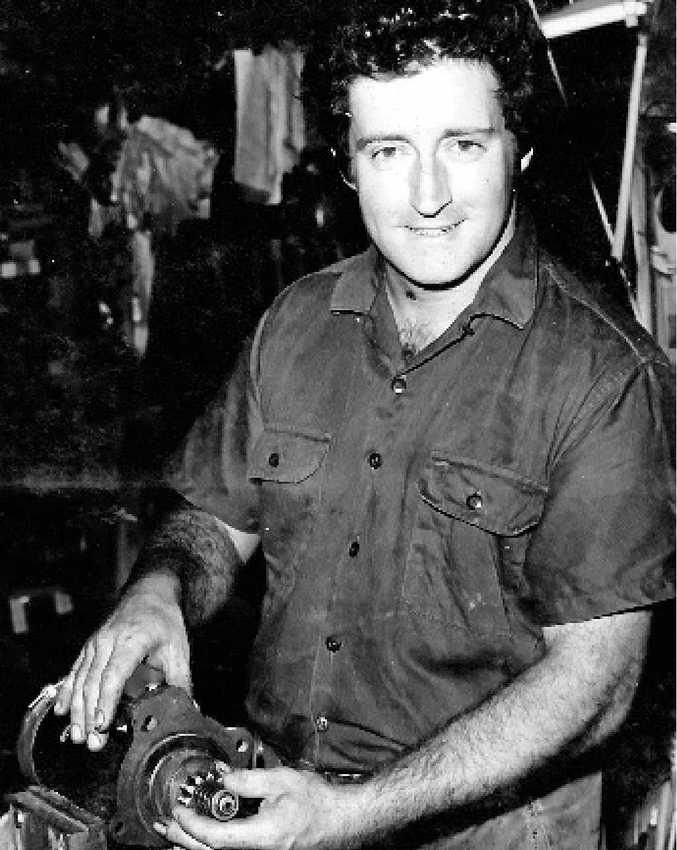 ABOVE: Bob Doring in his auto electrical workshop in Gladstone in the 1970s. RIGHT: Shortly before his death in October.