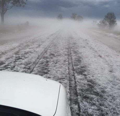 Goondiwindi turned white after a hailstorm moved through the town.