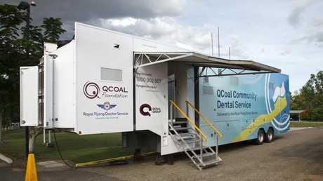 The QCoal Community Dental Service van - an 18-wheel semi-trailer - travels throughout regional Queensland offering free dental care.
