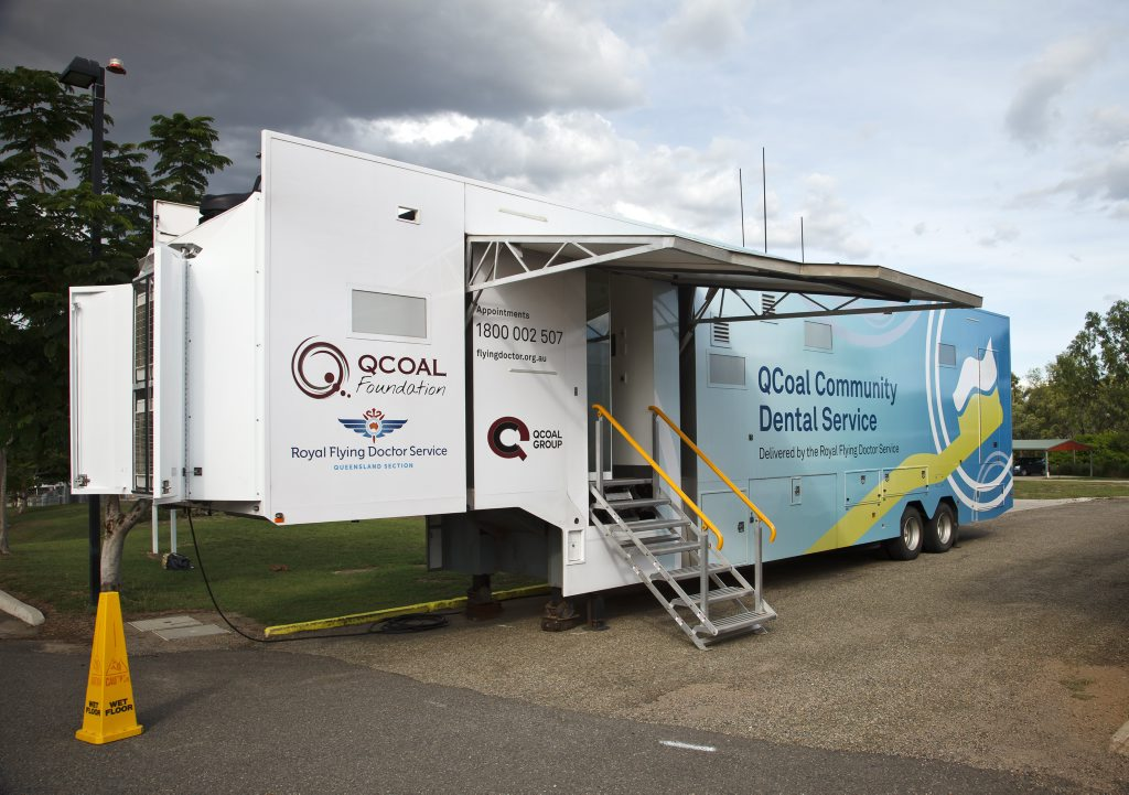 The QCoal Community Dental Service van - an 18-wheel semi-trailer - travels throughout regional Queensland offering free dental care.