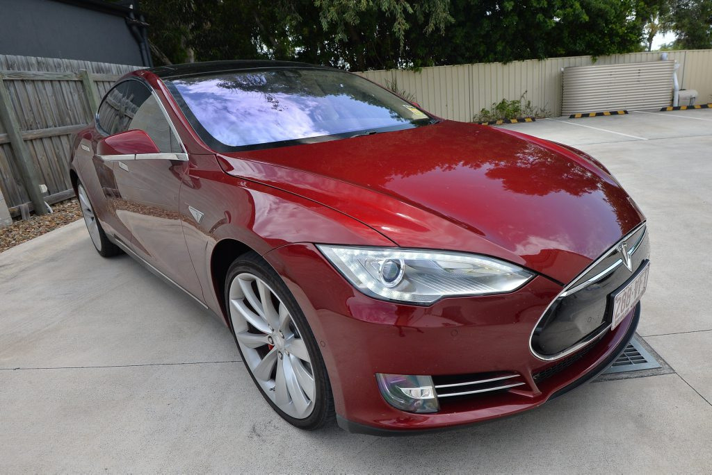 Tesla owner Vas Srinivasan has just installed new software upgrade to his Tesla that allows him to drive virtually hands free. Photo Patrick Woods / Sunshine Coast Daily