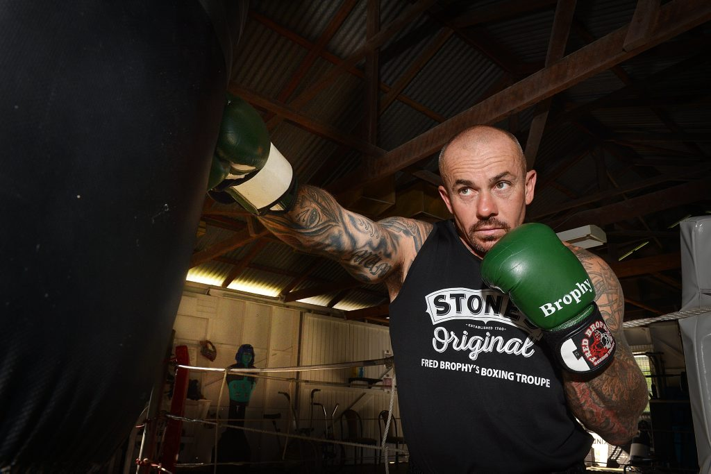 Danny Hawkins is competing in the Fred Brophy's boxing troupe.Photo Renee Albrecht / Gympie Times