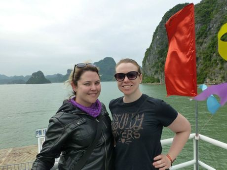 Elouise Quinlivan (left) and Melanie Miller relax on the ferry across to Cat Ba Island