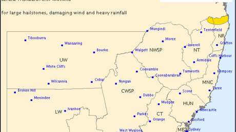 Bureau of Meteorology storm warning for upper parts of the Northern Rivers