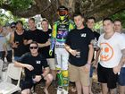 Mates of Darcy Ward gether around a mannequin dressed in his gear at the Royal Mail Hotel for the Ride foir Darcy event. Photo: Rob Williams / The Queensland Times