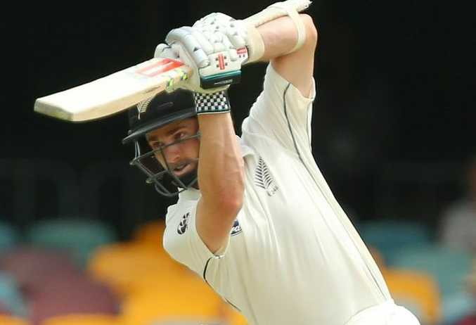 Kane Williamson bats during day four of the first Test match between Australia and New Zealand at The Gabba. Photo: Chris Hyde/Getty Images.