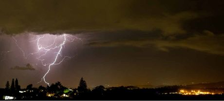 LIGHT UP THE NIGHT: Andrew Carruthers shot this storm photo from the Peregian Water Tower.
