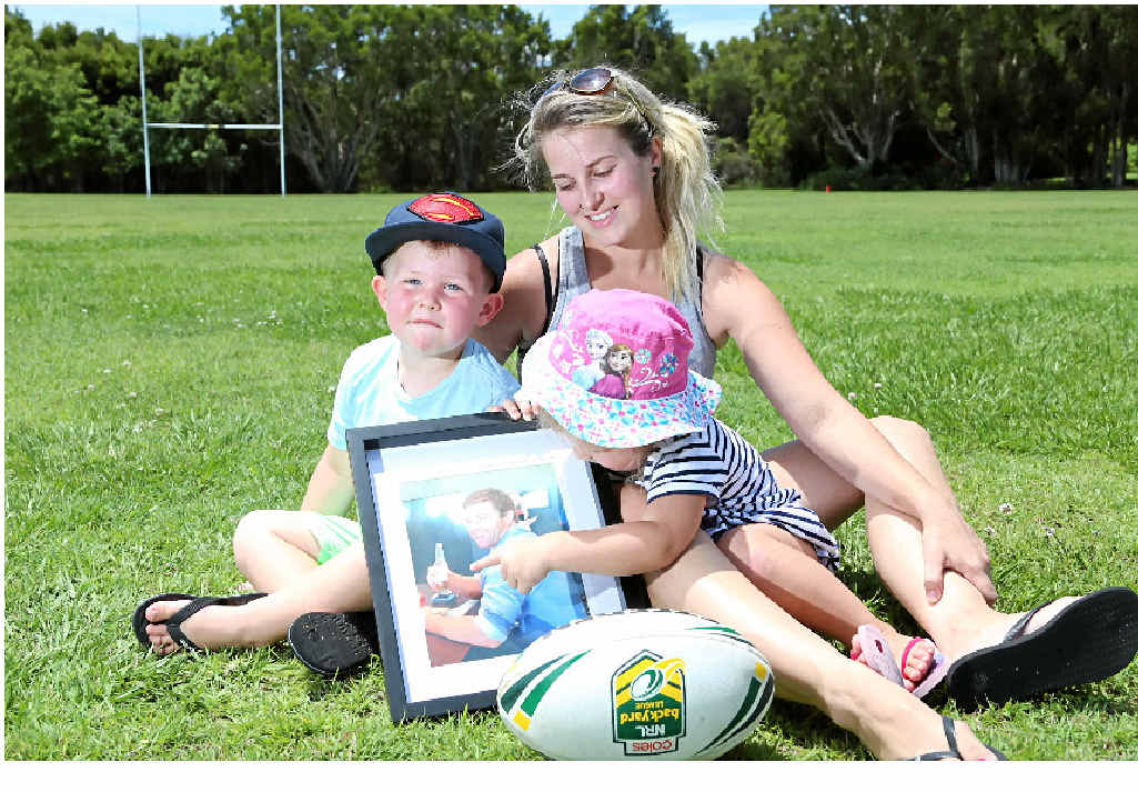 DAD: Saraa Ackerman, Ollie, 3, and Milly, 2, remember husband and father James Ackerman.