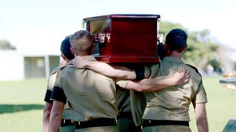 A Bearer Party from the 2nd Combat Engineer Regiment carry the coffin of Sapper David Michael Wood after a Full Miltary Funeral Service at Queen Elizabeth Park in Casino. Photo Cathy Adams / The Northern Star