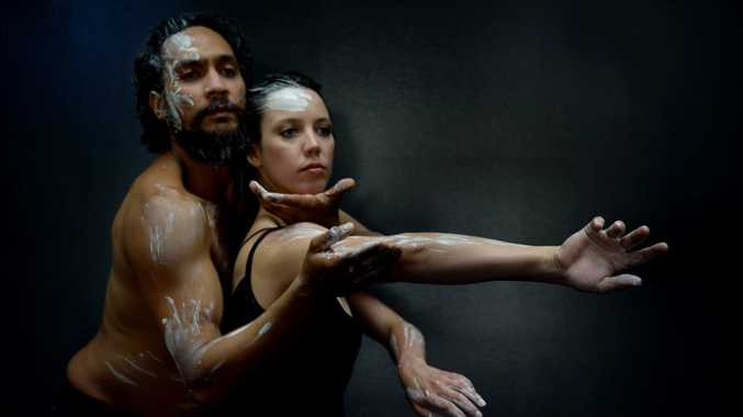 Bangarra Dance Theatre's Kinship performers Waangenga Blanco mand Tara Robertson in Rockhampton. Photo Allan Reinikka / The Morning Bulletin