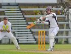 Zane Robertson hits a four in the Brothers vs Yaralla Reserve grade 40-over competition.