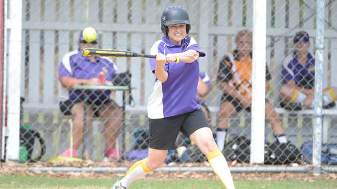 LONG SWING: Madonna Cheshan batting for Brothers at the Coulthard Oval Softball game. Photo: Paul Donaldson / NewsMail