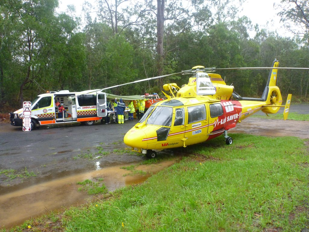 Westpac Lifesaver Helicopter airlifted the motorcyclist involved in a collision on Summerland Way to the Gold Coast University Hospital Photo Contributed