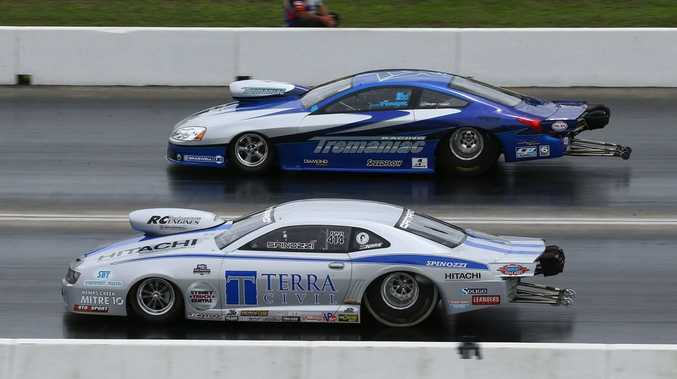 BURNING RUBBER: Tyronne Tremayne won the Pro Stock event at the 400 Thunder last weekend in Sydney