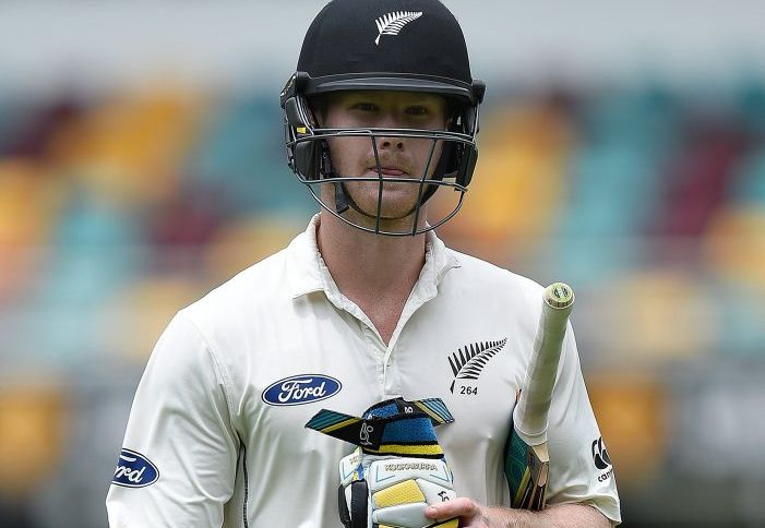 James Neesham leaves the field after scoring just three for New Zealand in its second innings at the Gabba. Photo: AAP Image.
