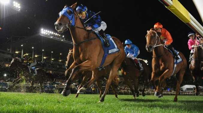 Damian Browne riding Buffering during Manikato Stakes Night at Moonee Valley Racecourse last month. Photo: Vince Caligiuri/Getty Images.