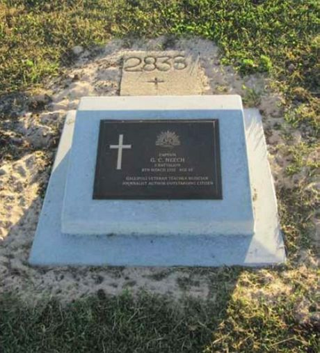 This headstone will replace the concrete number that was the only marker of WWI veteran Capt Neech.