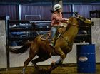 Local cowgirl Amber Patteson again performed strongly in the barrel racing.