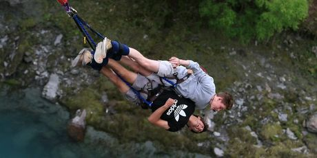 School leavers Tom Bellamy, 17 (Adidas top) and Kyle Galbraith, 17, take the plunge. Photo / Supplied