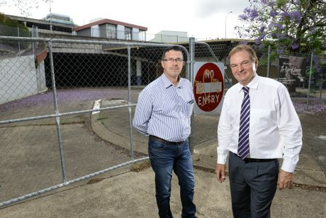 Cr Andrew Antoniolli and Ipswich Mayor Paul Pisasale at the site of the former transit centre. Photo: Rob Williams / The Queensland Times