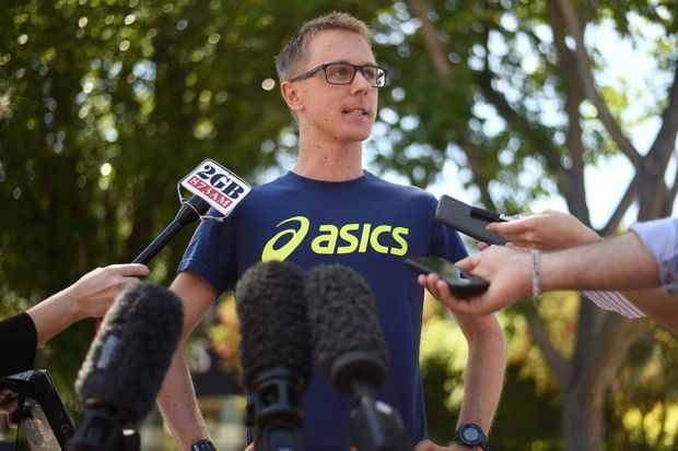Meet the press ... Jared Tallent speaks to the media at the AIS recovery centre in Canberra this week. Photo: AAP Image/Lukas Coch