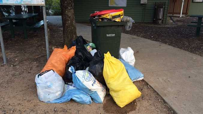 The Gladstone Regional Council placed a wheelie bin at the 1770 Marina last week, after they removed four skip bins from the area, however shortly after they found someone had illegally dumped rubbish near the bin. Photo Contributed