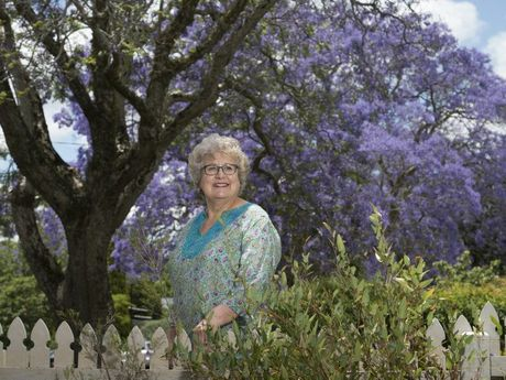 Cheryl Andersen loves the jacaranda trees that line Mary St where she lives and would hate to see them go as a result of one falling onto a car on Monday, Tuesday, November 10, 2015. Photo Kevin Farmer / The Chronicle