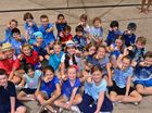 Students at St Thomas Moore Primary in Sunshine Beach decked out in blue to help their classmate, Isaac Stearn who was injured in a Halloween accident.