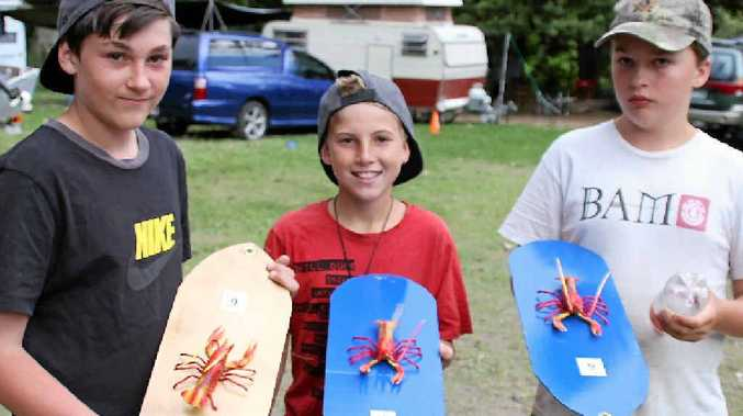 TOP YABBIE: Mark Gulish, Ashley Treffen and yabbie race winner Angus Meyndershager.