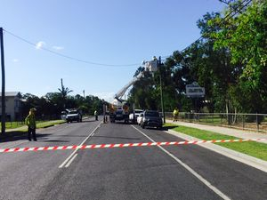 Harvester takes down powerlines outside school on Alice St