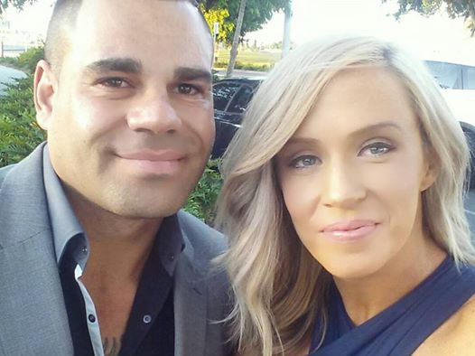 Former Brisbane Lion Albert Proud with partner Richelle Kadadi. Source: Facebook