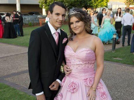 Graduating student Tanyka Vicary with partner Dylan Glenbar at the Toowoomba Flexi School graduation and formal at Empire Theatres, Wednesday, November 12, 2014.